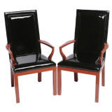 Pair Baker Cinnabar And Black Patent Leather Arm Chairs