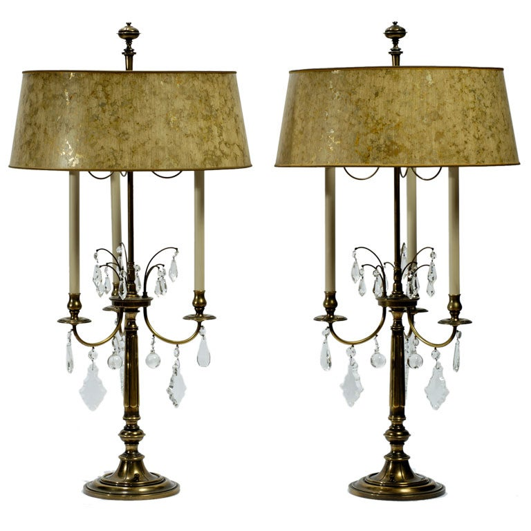 Pair Brass and Crystal Bouillotte Lamps By Stiffel