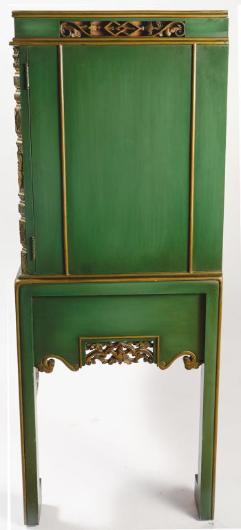 Emerald Green Chinese Cabinet Inset With Antique Gilt Panels At 1stdibs