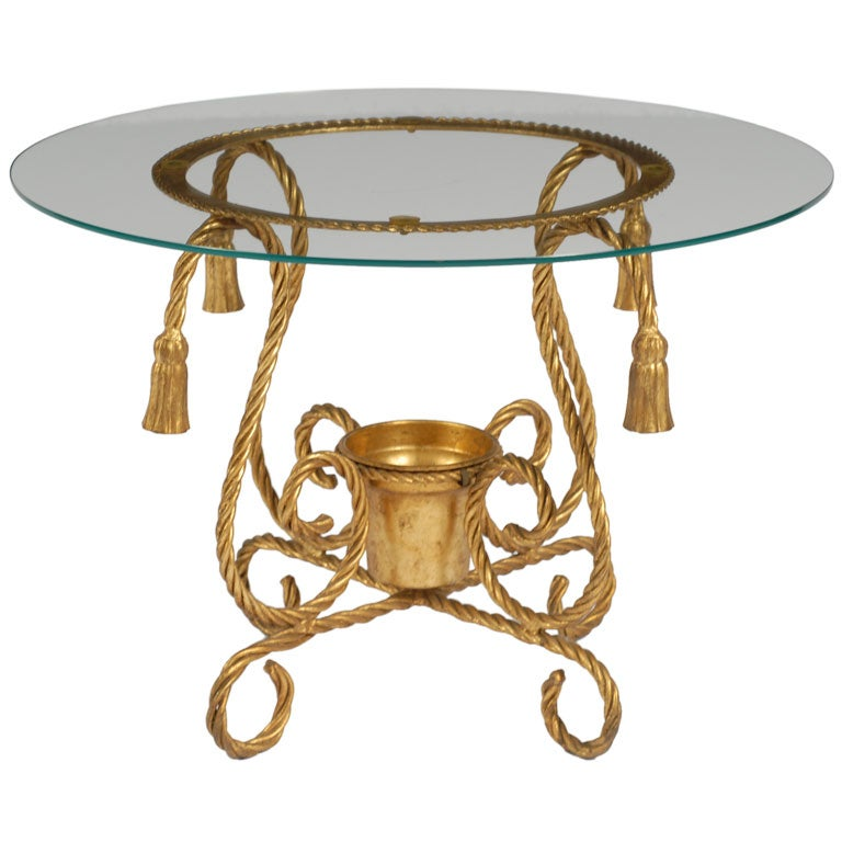 Gilt Metal Rope Form Table With Tassel Ornamentation