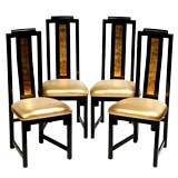 Set Four Gilt & Black Lacquer Chairs With Gold Lame' Upholstery