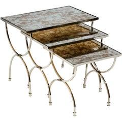 Set Of Three Nickel & Antiqued Mirror Nesting Tables