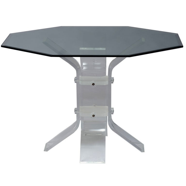 Lucite And Chrome Base Dining Table With Glass Top For Sale At 1stdibs