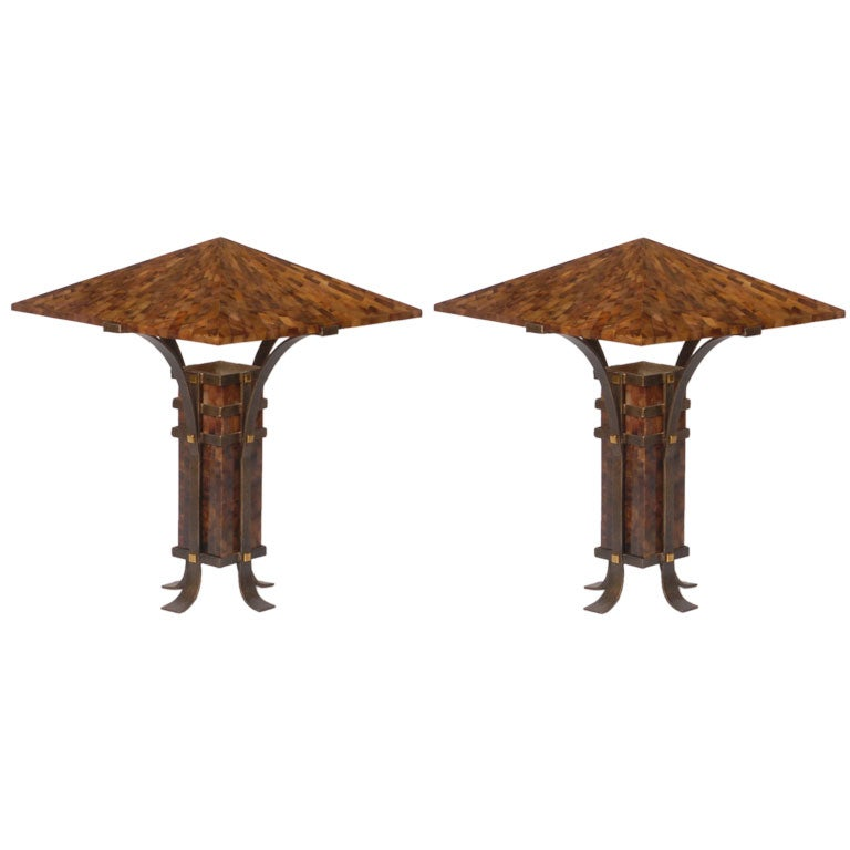 Pair Maitland Smith Tessellated Horn and Iron Table Lamps For Sale