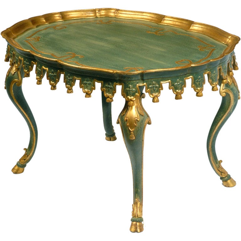 Elegant Teal Painted And Parcel Gilt Italian Coffee Table At 1stdibs
