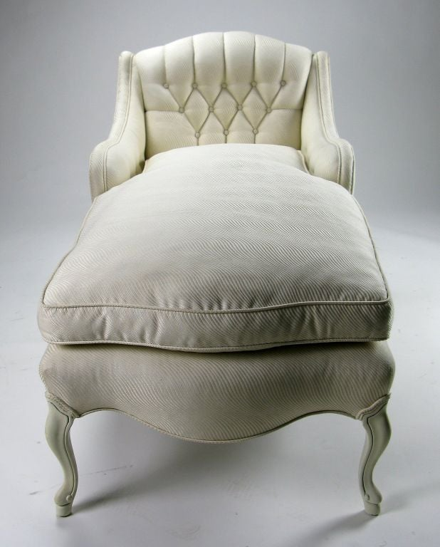 Elegant White Lacquered and Upholstered Chaise Lounge at ...
