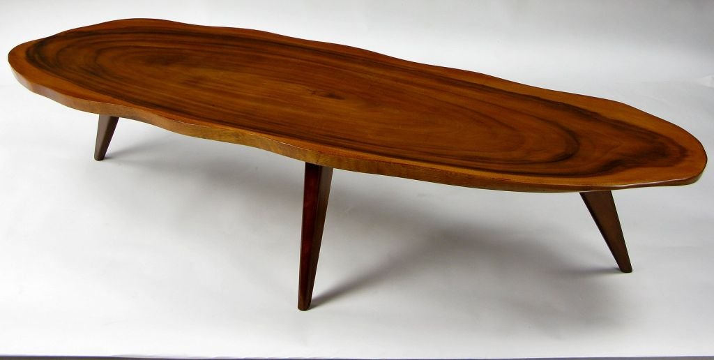 Solid one piece koa wood coffee table at 1stdibs for Free form wood coffee tables