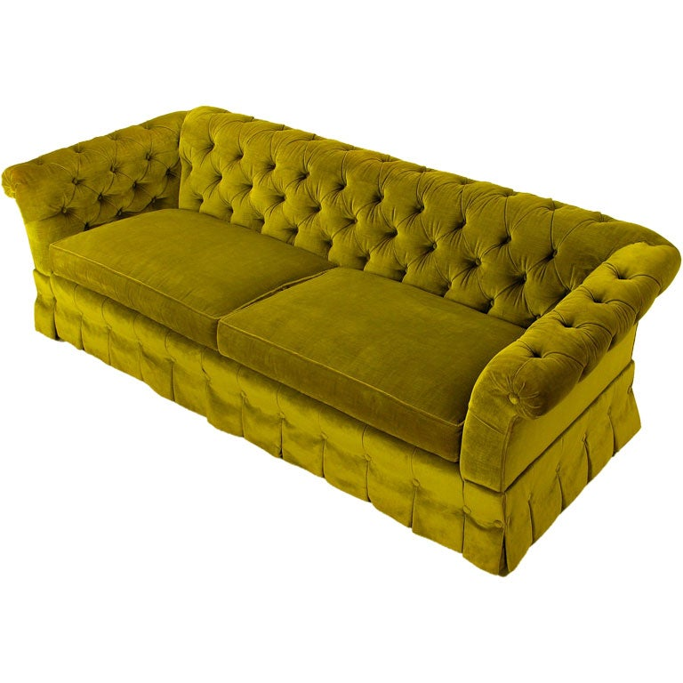 Generously Tufted Even Arm Sofa In Tea Green Velvet At 1stdibs