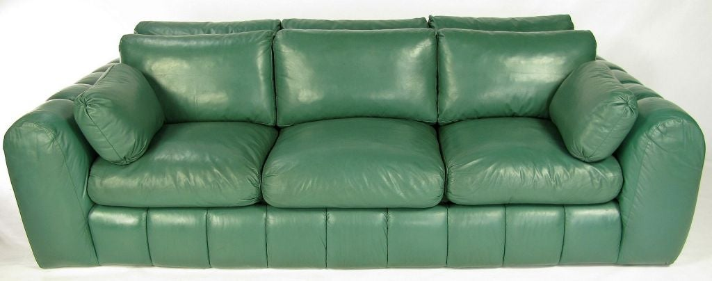 Jay Spectre Channeled Sofa In Original Green Leather At