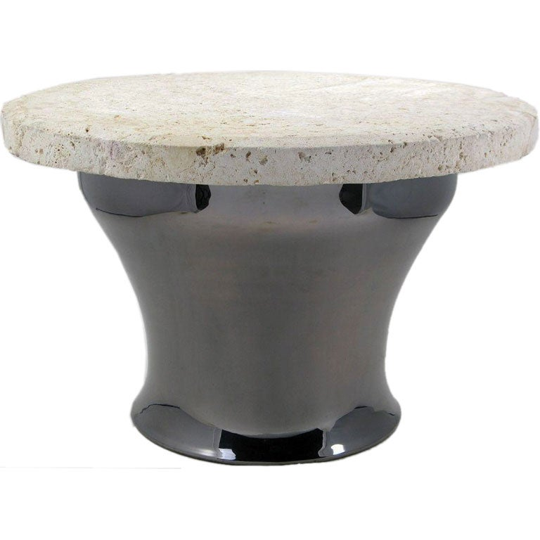"Copper Kettle Drum Coffee Table: Karl Springer Gun Metal Copper And Fossil Stone ""Rain Drum"