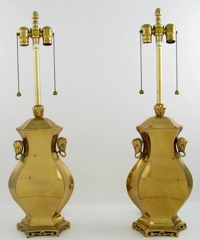 Pair Marbro Brass Table Lamps With Elephant Heads 2