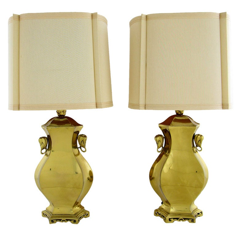 Pair Marbro Brass Table Lamps With Elephant Heads