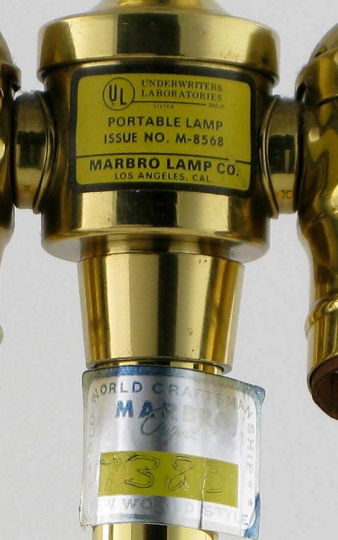 Pair Marbro Brass Table Lamps With Elephant Heads 7