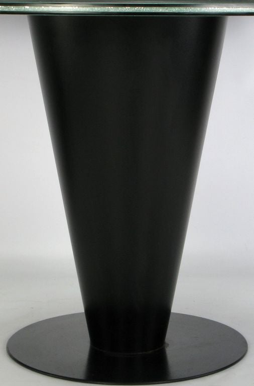 Black Lacquered Metal Cone Pedestal Table With Crackle Glass Top At 1stdibs