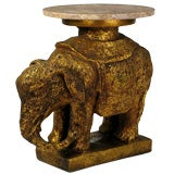 Gilt And Marble Elephant Form End Table
