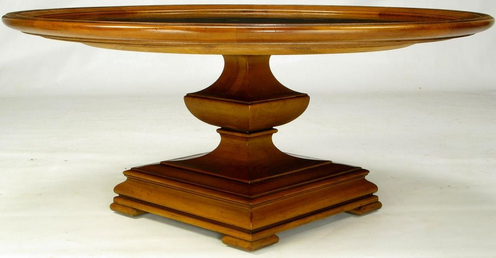 regency round tooled leather top coffee table by henredon at 1stdibs