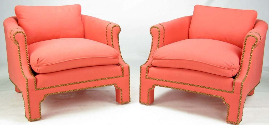 Pair of coral barrel back fully upholstered club chairs at 1stdibs
