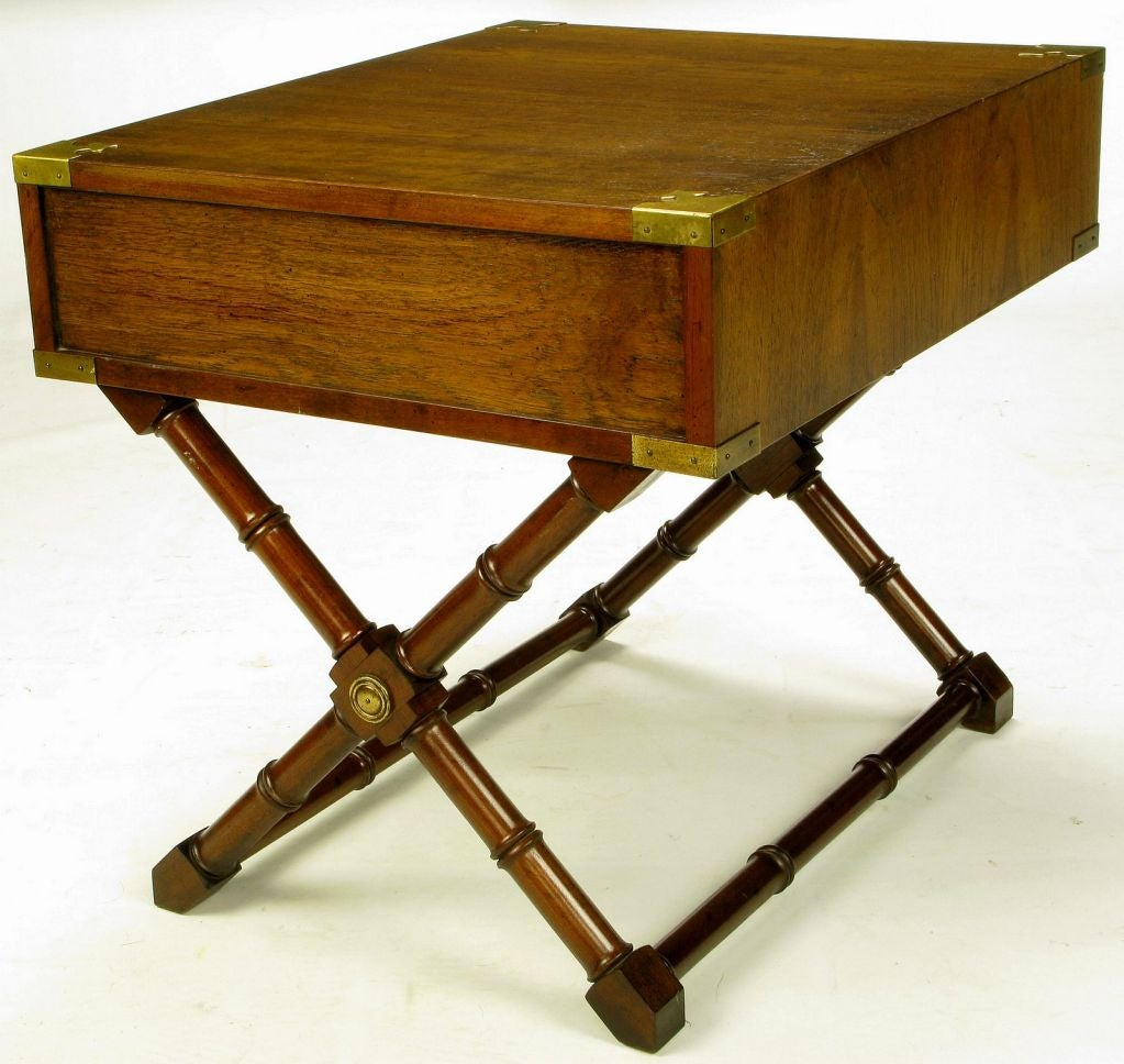 Walnut Campaign Style End Table With Saltire Base At 1stdibs