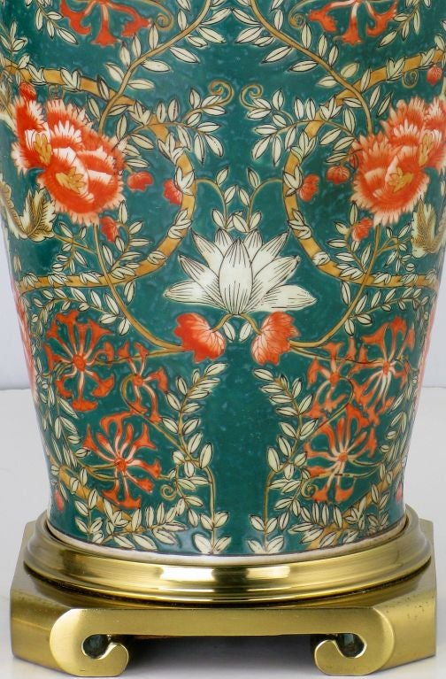 Mid-20th Century Pair Of William Morris Style Hand Painted Ceramic Table Lamps For Sale