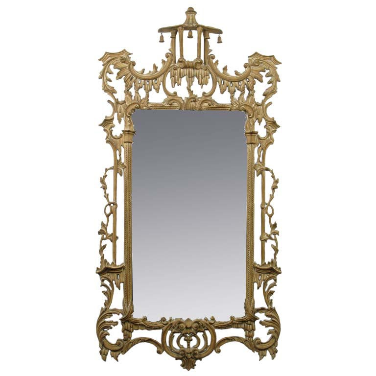 Large chinese chippendale style mirror in carved gesso for Asian style mirror