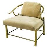 Brass Yoke Back Arm Chair By Mastercraft