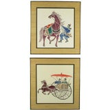 Pair Colorful Chinese Woodblock Prints