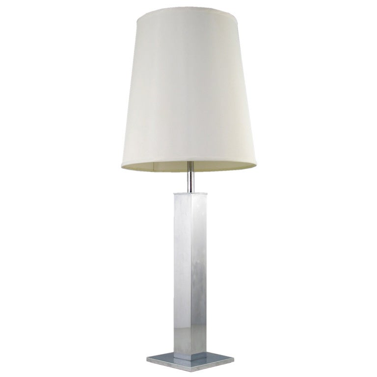 Large Chromed Column Table Lamp By Nessen