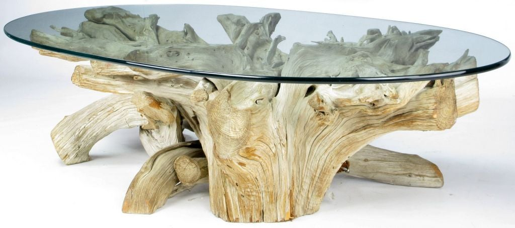 Driftwood Coffee Table.Classic California Modern Driftwood Coffee Table