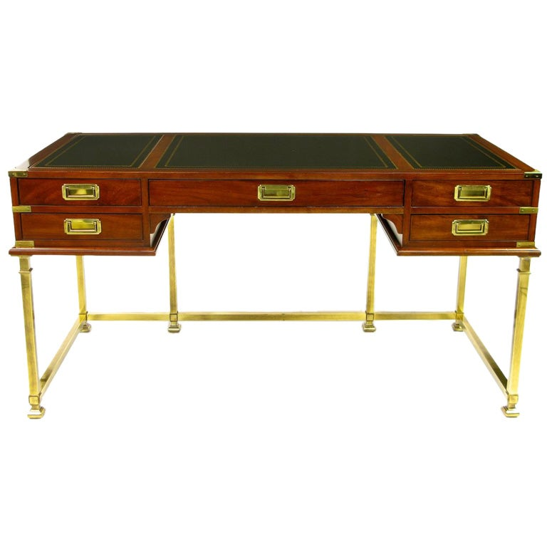mahogany brass and leather caign desk by sligh at 1stdibs
