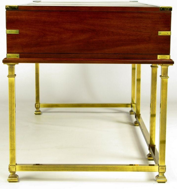 Mahogany, Brass, And Leather Campaign Desk By Sligh at 1stdibs