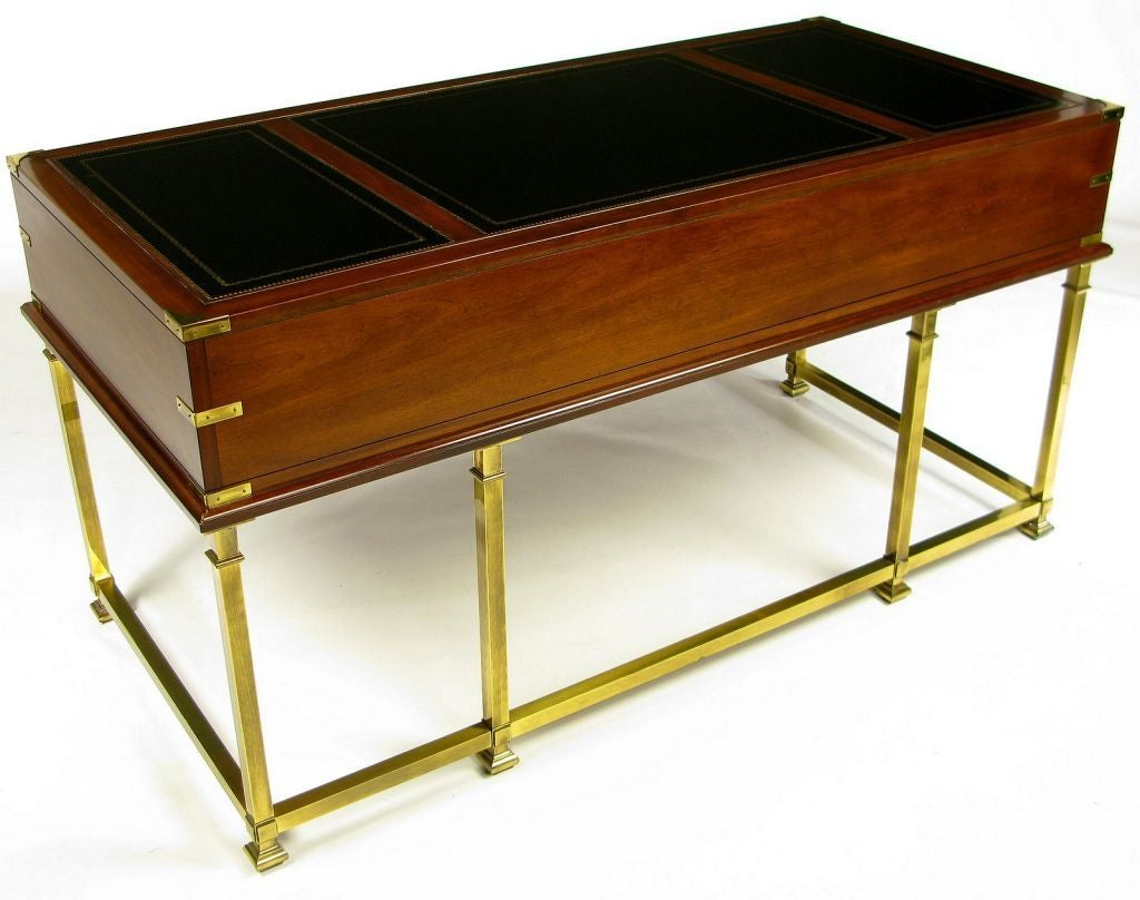 Mahogany Brass And Leather Campaign Desk By Sligh At 1stdibs
