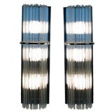 Pair Of Chrome And Glass Rod Sconces By Lightolier