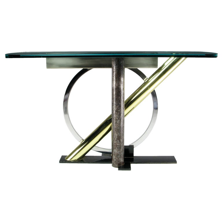 Design institute america memphis inspired console table at for Design table replica