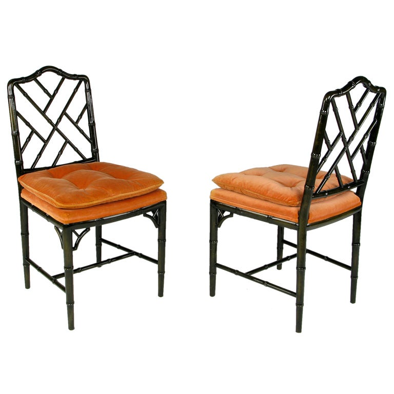 Pair Cocheo Chinese Chippendale Side Chairs At 1stdibs