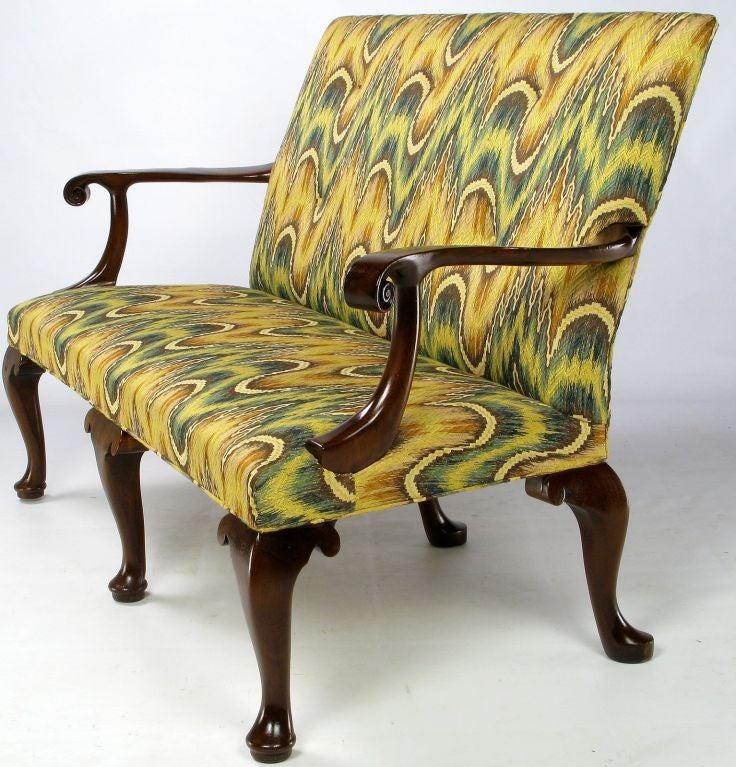 kittinger chippendale mahogany settee in vivid flamestitch 3