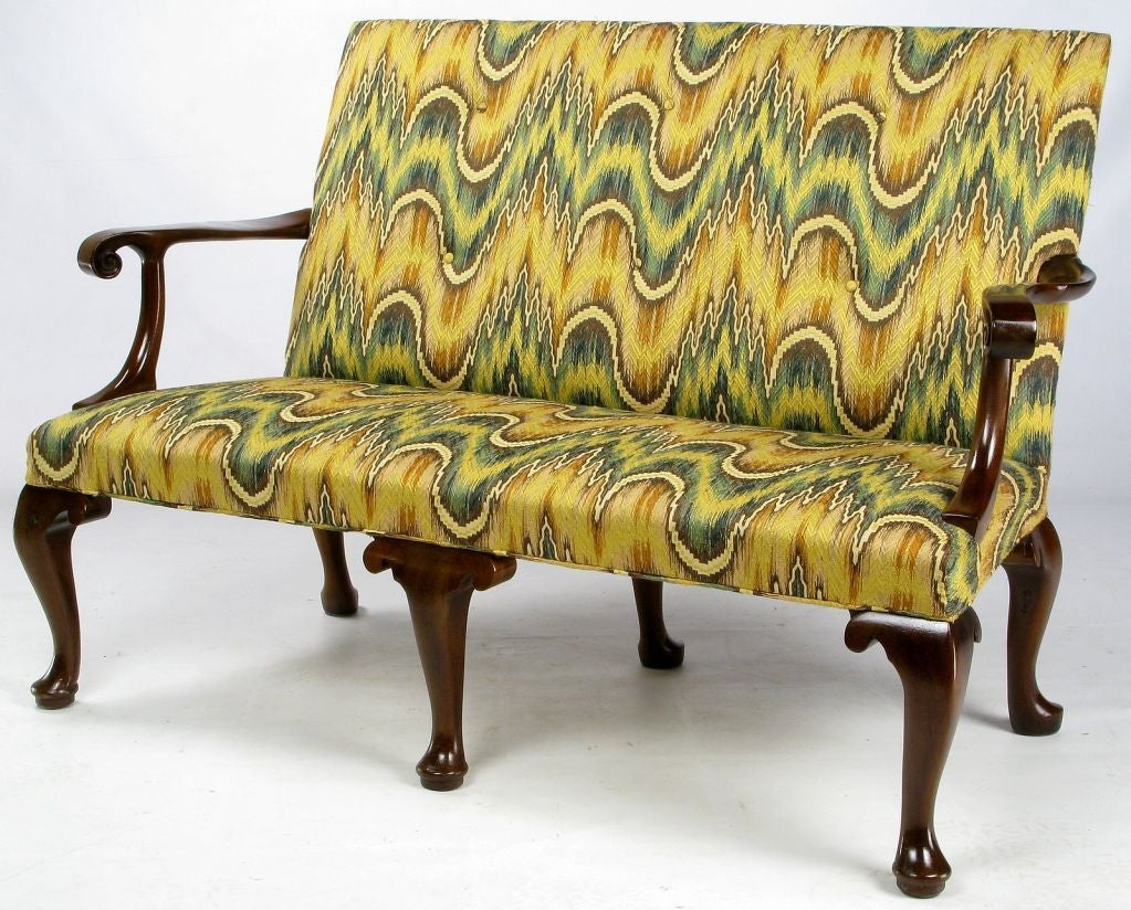 kittinger chippendale mahogany settee in vivid flamestitch 2