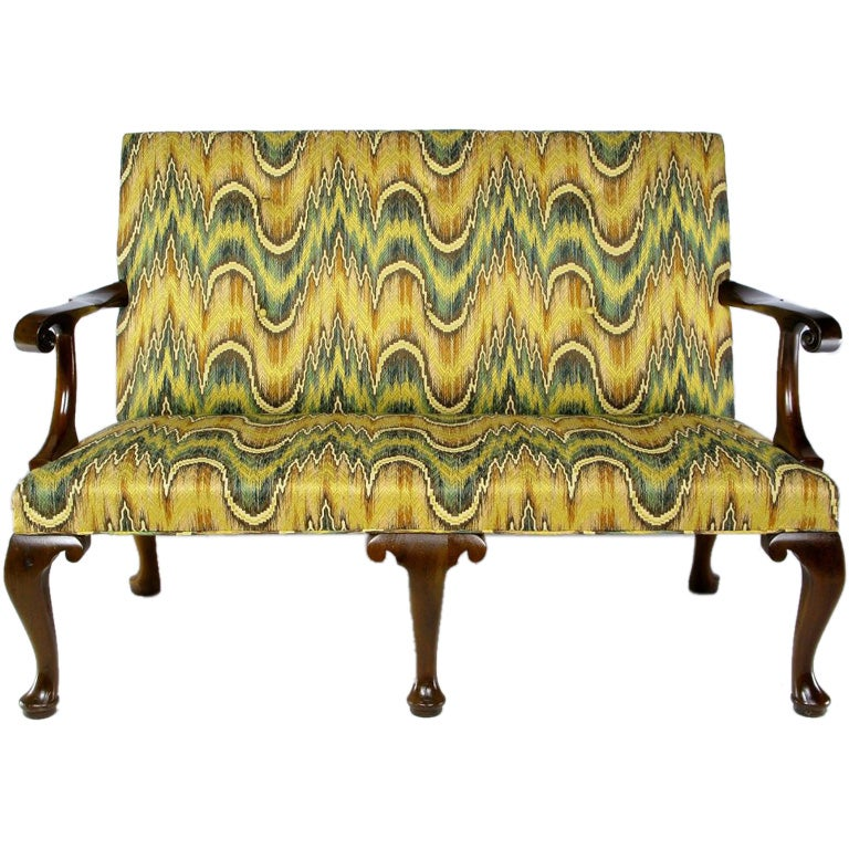 kittinger chippendale mahogany settee in vivid flamestitch 1