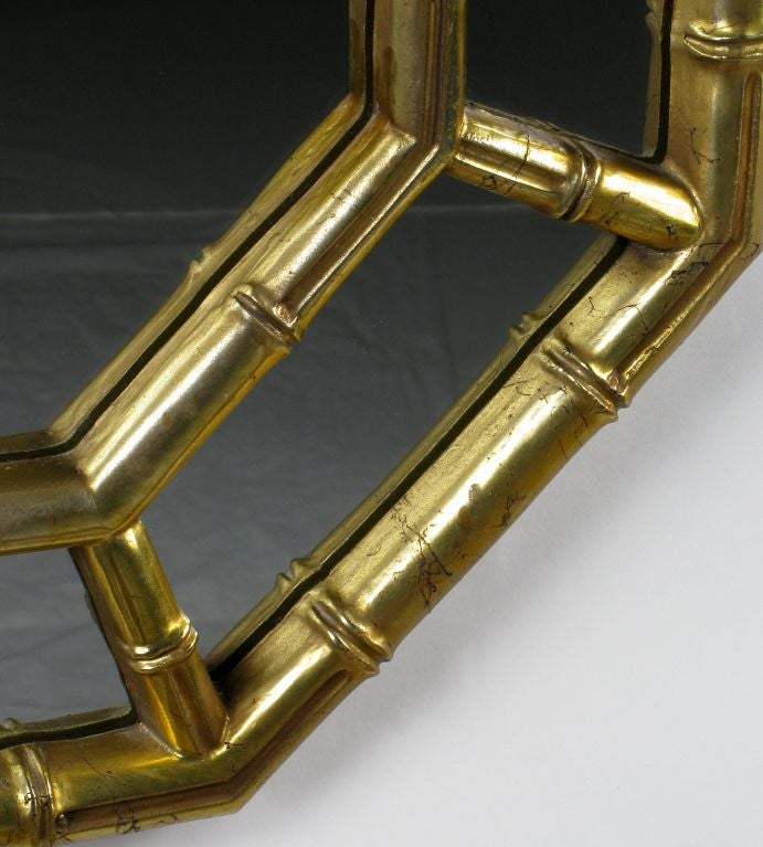 Mid-20th Century Octagonal Bamboo Form Mirror In Patinated Gold Leaf
