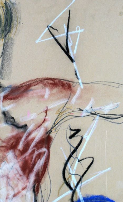 A wonderful use of color and shading, this gouache on paper abstract nude is very much a product of the 1980s.