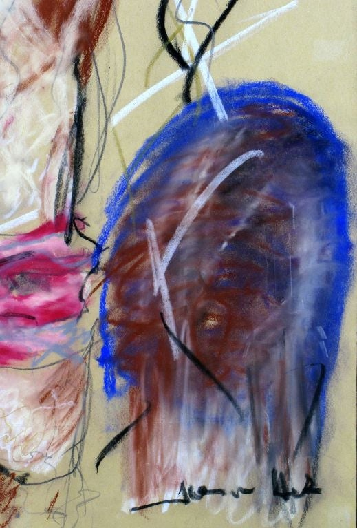American Signed Abstract Nude Gouache On Paper For Sale