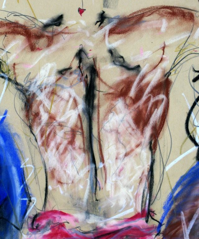 Signed Abstract Nude Gouache On Paper For Sale 1