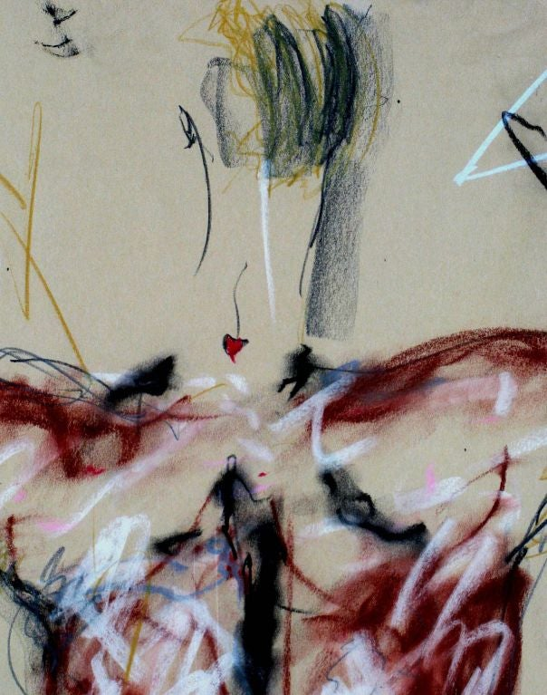 Signed Abstract Nude Gouache On Paper For Sale 2