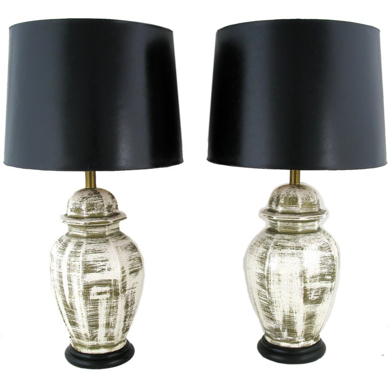 glazed white craquelure porcelain ginger jar table lamps at 1stdibs. Black Bedroom Furniture Sets. Home Design Ideas