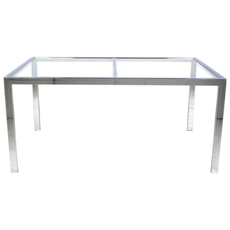 Chromed Steel Parsons Style Dining Table By Milo Baughman
