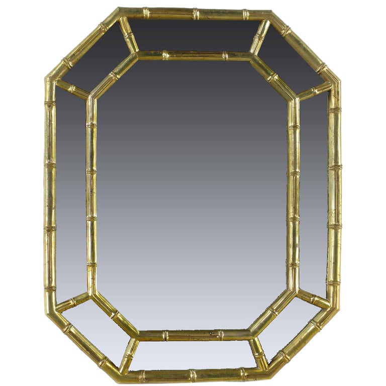 Octagonal Bamboo Form Mirror In Patinated Gold Leaf