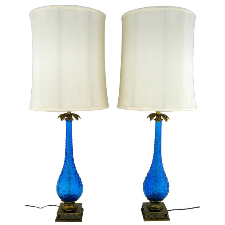 Pair Bubble Textured Blue Glass Table Lamps With Brass Accents For