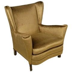 Sculptural Italian Wing Chair In Cocoa Silk Velvet