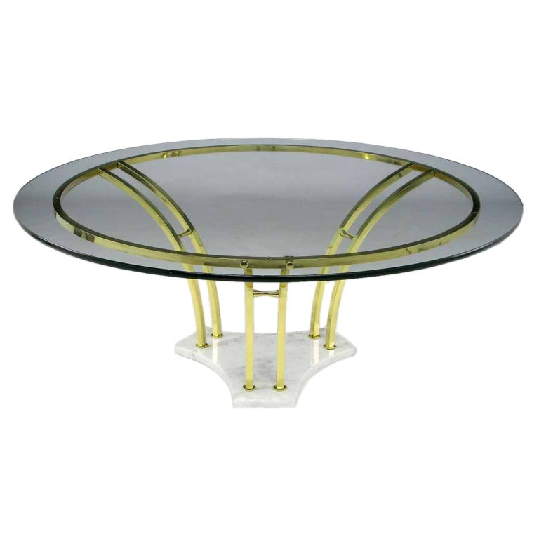 Carrera marble and brass bar round coffee table at 1stdibs for Table carrera