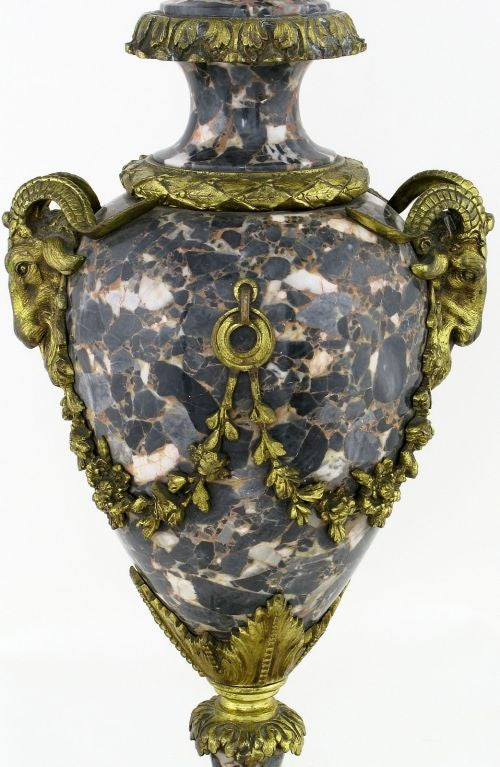 Marble Urn Form Lamp With Bronze Rams Heads And Ormolu For