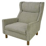 Selig Club Chair In Original Black & White Houndstooth Fabric